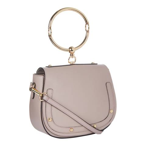 Giulia Massari Taupe Stud Saddle Top Handle Bag