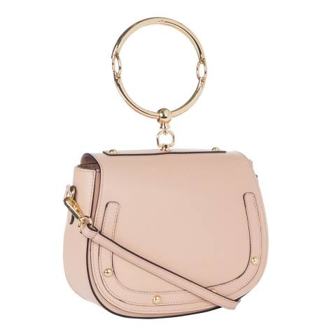 Giulia Massari Blush Pink Stud Saddle Top Handle Bag
