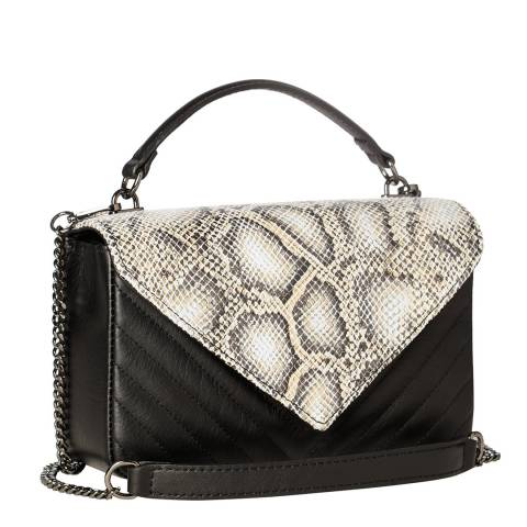 Massimo Castelli Black Snakeskin Top Handle Bag