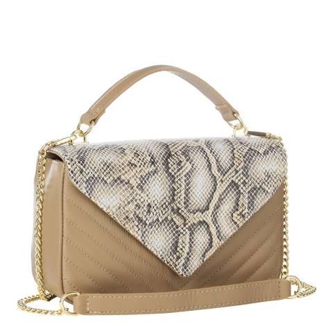 Massimo Castelli Taupe Snakeskin Top Handle / Cross Body Bag
