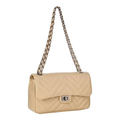 SCUI Studios Taupe Zigzag Quilted Cross Body Bag