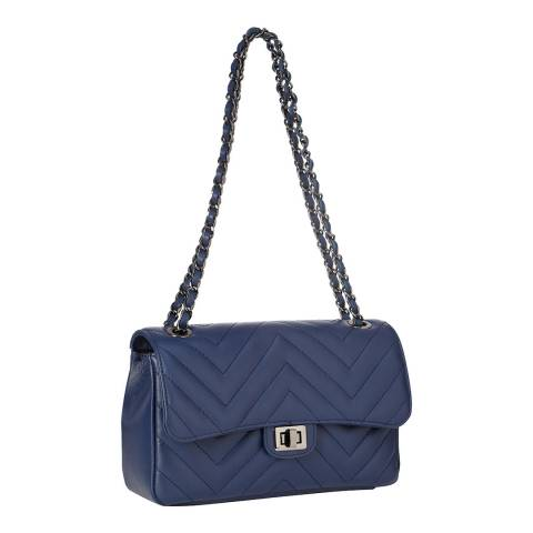 SCUI Studios Blue Zigzag Quilted Cross Body Bag