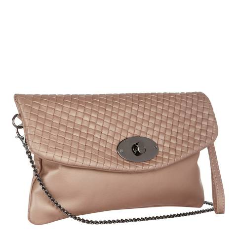 Giulia Massari Blush Pink Basket Weave Clutch Bag