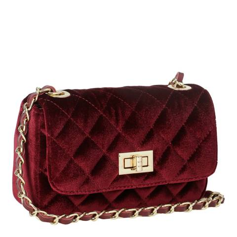 Massimo Castelli Bordeaux Velvet Diamond Stitch Shoulder Bag