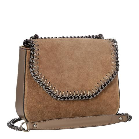 Giorgio Costa Taupe Suede Chain Detail Shoulder Bag