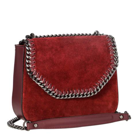 Giorgio Costa Wine Suede Chain Detail Shoulder Bag