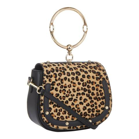 Giulia Massari Black / Leopard Stud Saddle Top Handle Bag