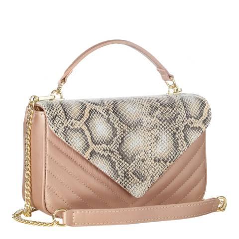 Massimo Castelli Blush Pink Snakeskin Top Handle Bag