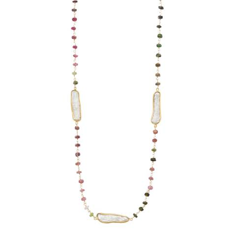 Liv Oliver 18k Gold Multi Tourmaline And Pearl Necklace