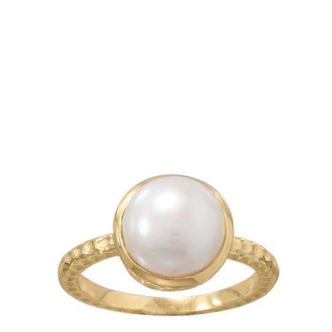 Liv Oliver 18k Gold Plated Pearl Bezel Ring