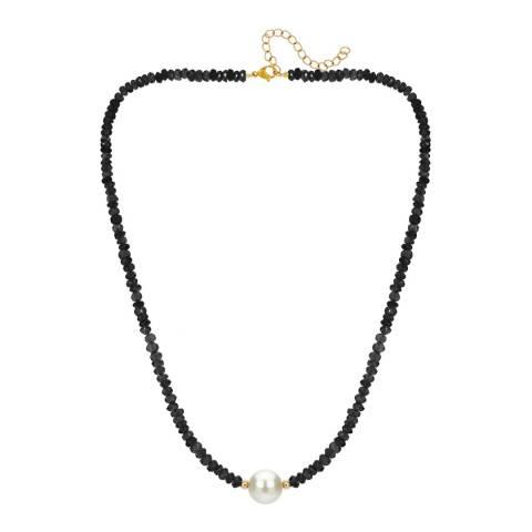 Liv Oliver 18K Gold Plated Black Onyx & Pearl Necklace