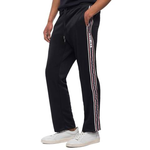 Replay Black Logoed Stripe Fleece Joggers