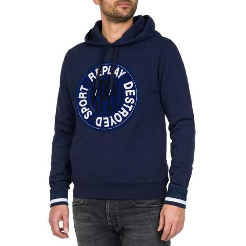 Replay Navy Fleece Logo Cotton Hoodie