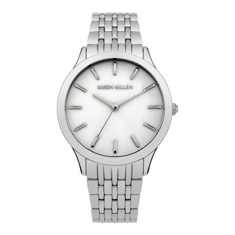 Karen Millen Silver Stainless Steel Round Watch
