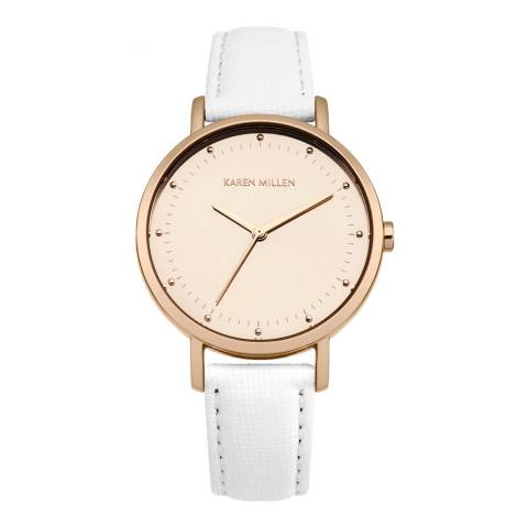 Karen Millen White Saffiano Leather Round Watch