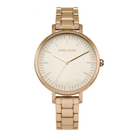 Karen Millen Rose Gold Stainless Steel, Polished Round Watch