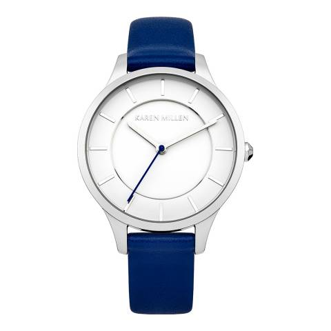 Karen Millen Blue Leather Round Watch