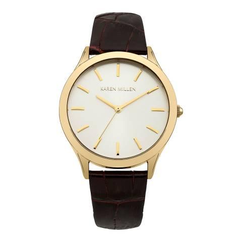 Karen Millen Dark Brown Leather Round Watch