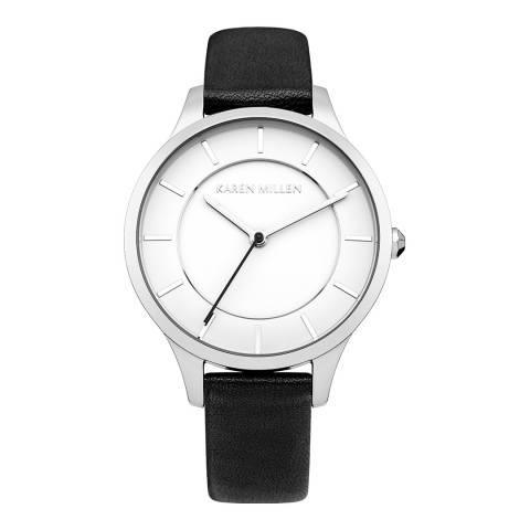 Karen Millen Pearlised Black Leather Round Watch
