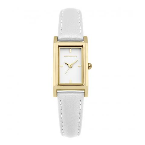 Karen Millen Pearlised White Leather Rectangular Watch