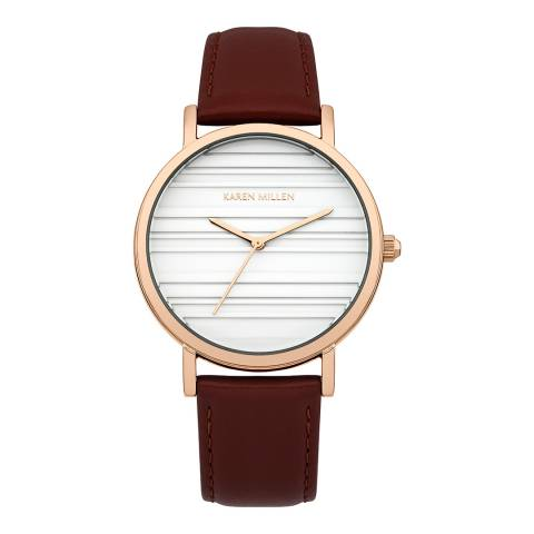 Karen Millen Burgundy  Leather Round Watch