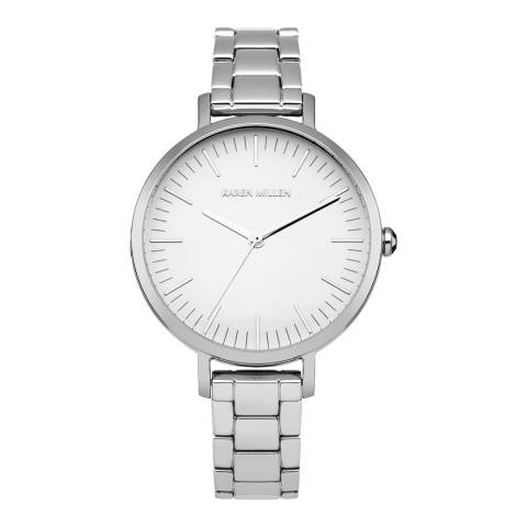 Karen Millen Silver Stainless Steel, Polished Round Watch