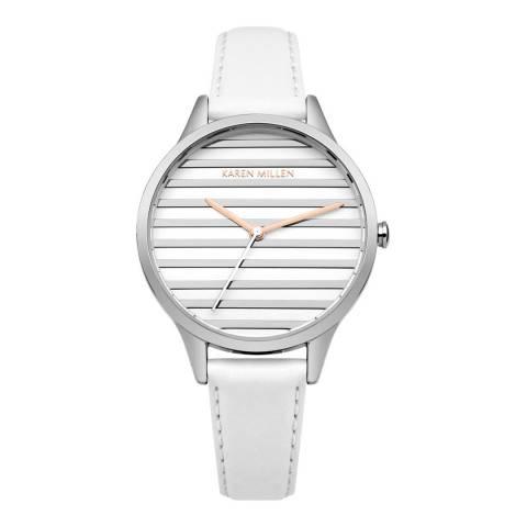 Karen Millen White  Leather Round Watch