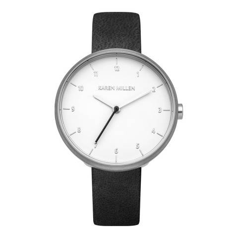 Karen Millen Black Leather Round Watch