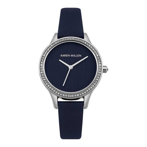 Karen Millen Navy Textured Leather Round Watch