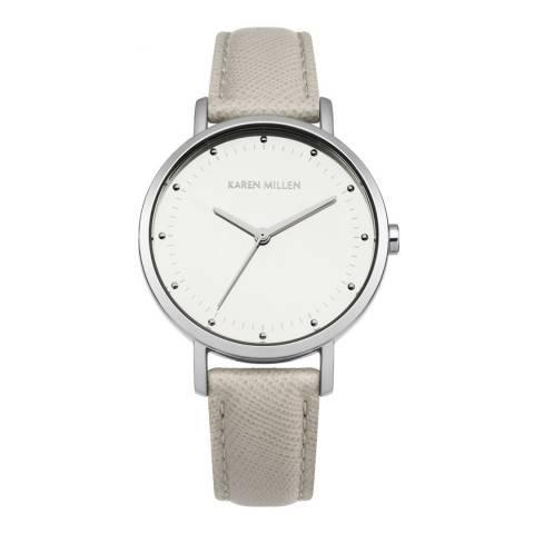 Karen Millen Camel Saffiano Leather Round Watch