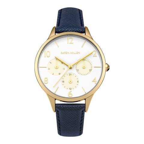 Karen Millen Blue Saffiano  Leather Round Watch