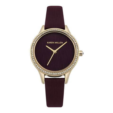 Karen Millen Mulberry Textured Leather Round Watch