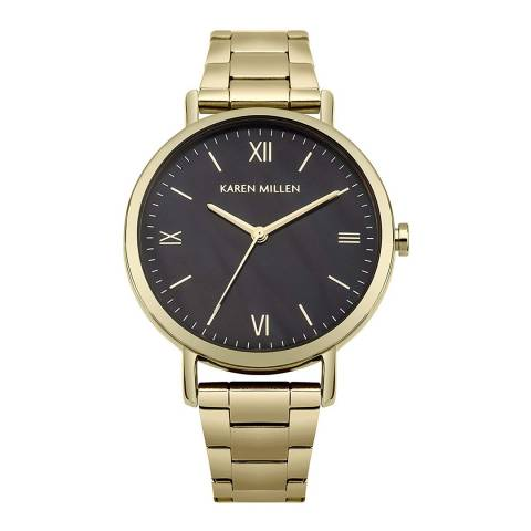 Karen Millen Gold Stainless Steel, Polished Round Watch