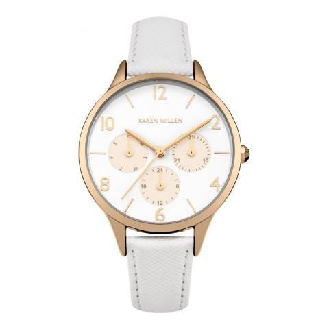 Karen Millen White Saffiano  Leather Round Watch
