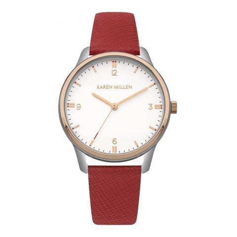Karen Millen Red Saffiano Leather Round Watch