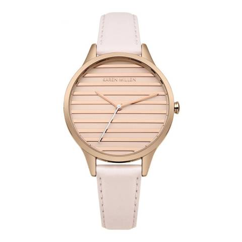 Karen Millen Nude  Leather Round Watch