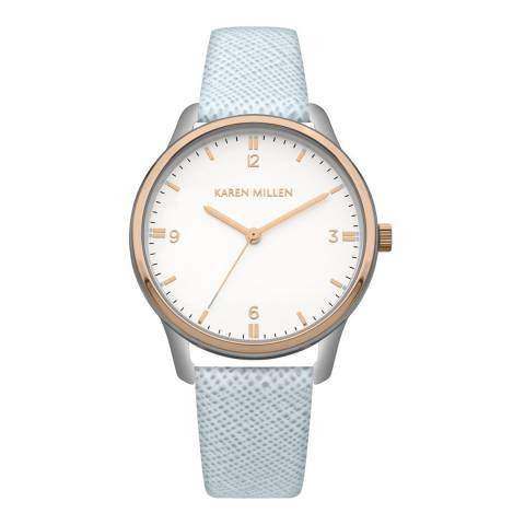 Karen Millen Light Blue Saffiano Leather Round Watch