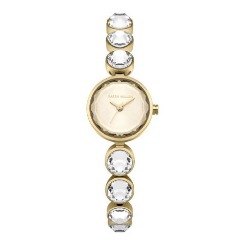 Karen Millen Gold Stainless Steel with Gold Faceted Stones Round Watch