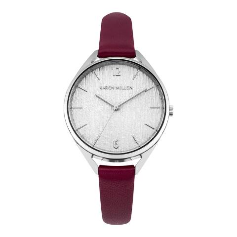 Karen Millen Red  Leather Round Watch