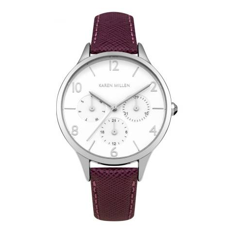 Karen Millen Mulberry Saffiano  Leather Round Watch