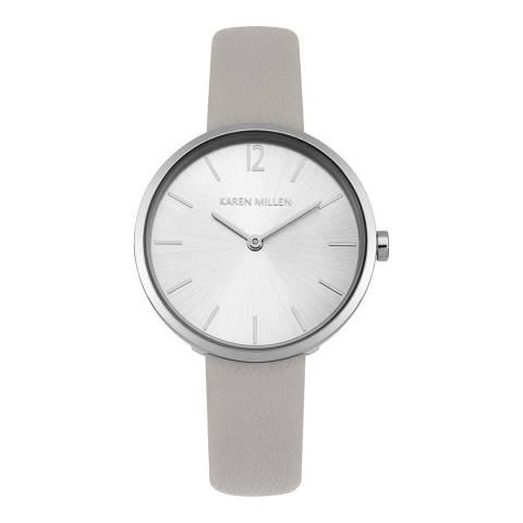 Karen Millen Silver Pearlux  Leather Round Watch