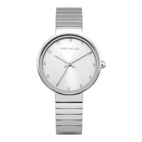 Karen Millen Silver Stainless Steel, Polished Round Watch