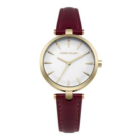 Karen Millen Mulberry Semi Glodd Leather Round Watch