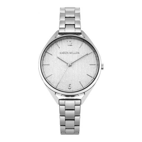 Karen Millen Polished Silver Stainless Steel Round Watch