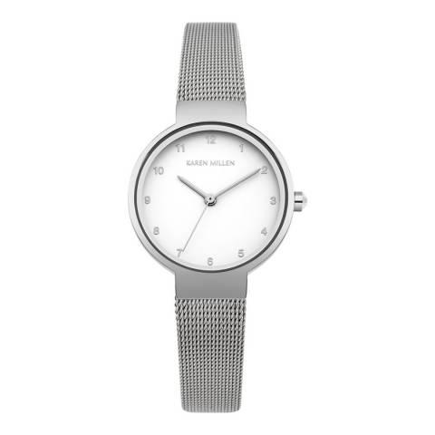 Karen Millen Silver Mesh Stainless Steel Round Watch