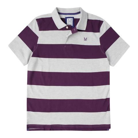 Crew Clothing Grey/Purple Stripe Melbury Polo