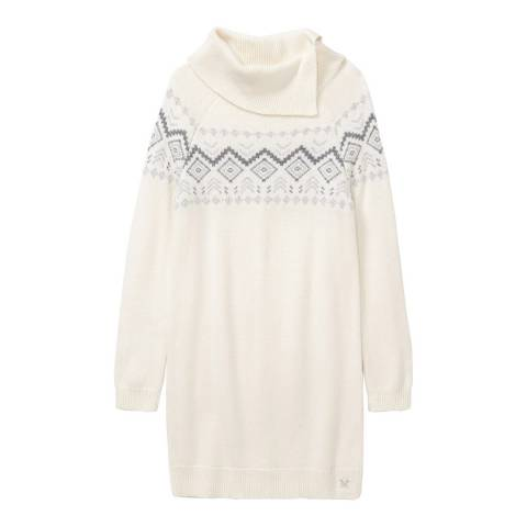 Crew Clothing Grey/White Fairisle Roll Neck Tunic