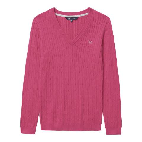 Crew Clothing Fuchsia V-Neck Heritage Cable Jumper