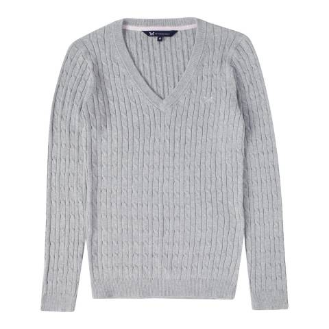 Crew Clothing Grey V-Neck Heritage Cable Jumper