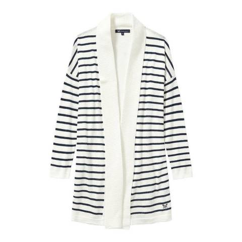 Crew Clothing White/Navy Holcombe Cardigan